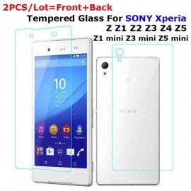 2 x Tvrzené sklo pro Sony Xperia M4 Aqua M5 Z L36h Z1 Z2 Z3 Z4 Z5 Compact mini , Tempered glass 9H, přední + zadní