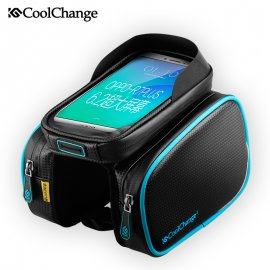 Pouzdro na jízdní kolo CoolChange, voděodolné, kapsička na telefon, výstup na sluchátka, uchycení na rám