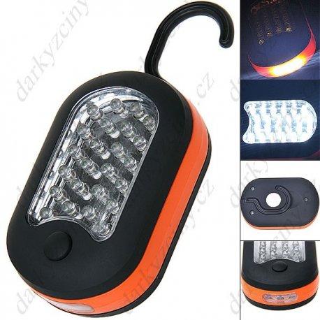 Světlo kemping outdoor / stolní světlo nebo svítilna / magnet / háček pro zavěšení / 24+3 LED (3xAAA)