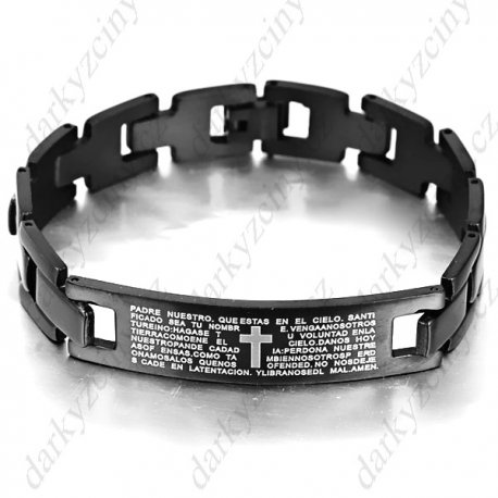Náramek Fashion Titanium Steel Bracelet Bangle Hand Chain Wrist Ornament Jewelry with Cross & Letter Pattern for Men Male Boy
