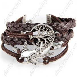 """8"" Shape Bronze Wristlet Wrist Band Bracelet Brace Lace with Bird f Party Festival"