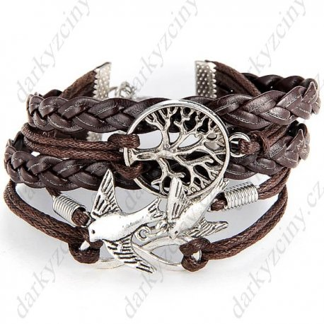 "Náramek ""8"" Shape Bronze Wristlet Wrist Band Bracelet Brace Lace with Bird f Party Festival"