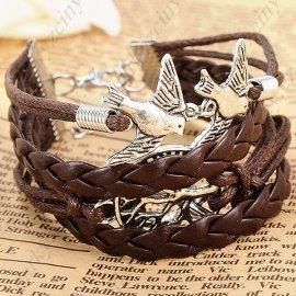 """Náramek """"8"""" Shape Bronze Wristlet Wrist Band Bracelet Brace Lace with Bird f Party Festival"""