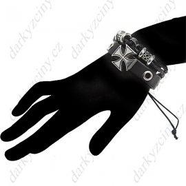 Náramek Cross Patterned Leatherette Wristlet Wrist Band Bracelet Brace Lace with Rope for Women Ladies