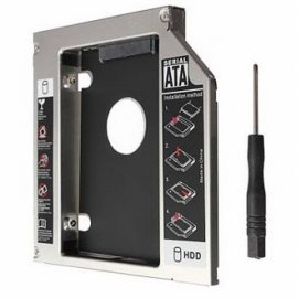 "Exchangeable bezel black, box for 12.7mm SATA optical drive in notebook, for 2.5 ""HDD / SSD, functional LED, screwdriver"