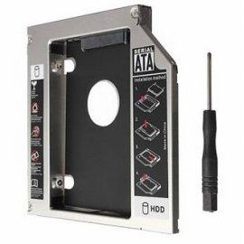 """Výměnný rámeček černý, box pro 12.7mm SATA optickou mechaniku v notebooku, pro 2.5"""" HDD/SSD, funkční LED, šroubovák"""