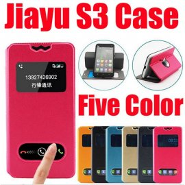 Case for Jiayu S3, View Window, Stand, PU Leather