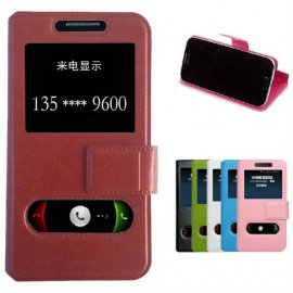 Case for Elephone G5 P2000, View Window, Stand, PU Leather