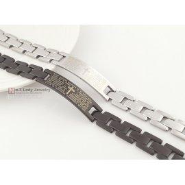 Náramek Fashion Titanium Steel Bracelet Bangle Hand Chain Wrist Ornament Jewelry with Cross & Letter Pattern for Men Male Boy