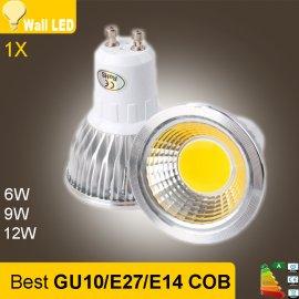 LED bodovka COB 85-265V 6W 9W 12W GU10 E14 E27, stmievateľná, aluminium