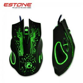 Gaming mouse ESTONE X9, optical, LED, 6 buttons, 800DPI, 1200DPI, 1600DPI, 2400DPI, USB 2.0, PnP, LED