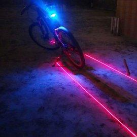 Laserové zadní světlo, blikačka na kolo s 5 LED +2 x Laser, 7 modů, voděodolná /Poštovné ZDARMA!