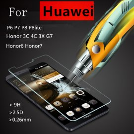 Tvrdené sklo pre Huawei P6 P7 P8 lite Honor 6 7 3C 4C 3X Ascend G7, Tempered Glass 9H + 2.5D Explosion-proof