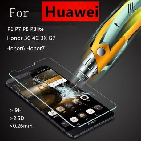 Tvrzené sklo pro Huawei P6 P7 P8 lite Honor 6 7 3C 4C 3X Ascend G7, Tempered Glass 9H+ 2.5D Explosion-proof