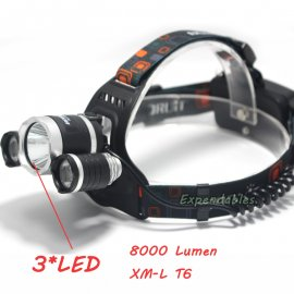 Čelovka / Svítilna Cree LED, 4 Mody, 5000mAh, 8000lm ZOOM, voděodolná + baterie + autonabíječka