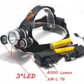 Headlamp / Flashlight Cree LED, 4 Modes, 5000mAh, 8000lm ZOOM, waterproof + battery + car charger
