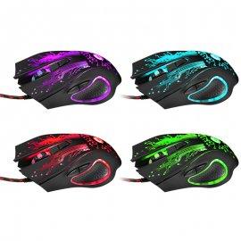 Herní myš, optická, LED, 6 tl., max 3200DPI, USB 2.0, PnP, LED