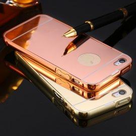 Pouzdro pro iPhone 5 5S SE iPhone 6 6S iPhone 6 Plus, zrcadlový efekt, ALU + PC