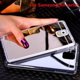 Zrkadlové puzdro pre Samsung Galaxy A3 A5 A7 J3 J5 J7 J1 2016 2017 S9 S8 Plus S6 S7 Edge Grand Prime, TPU