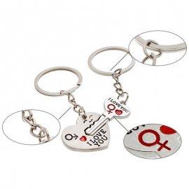 Prívesok na kľúče / kľúčenka srdce, kľúč