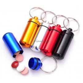 Keychain - Waterproof box for medicines, aluminum / FREE Shipping!