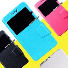 Case for Prestigio Men C3 A7 E3 A5 D3 Wize K3 Grace X3, flip, view window, PU leather + Silicone