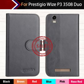Case for Prestigio Wize P3 3508 Duo, wallet, PU leather