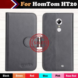 Case for HomTom HT20, flip, stand, wallet, PU leather