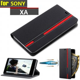 Case for Sony Xperia XA, flip, stand, wallet, PU leather