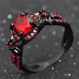 Rings Jewelry Black Gold Filled Promise Rings Bijoux Femme RB0435