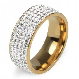 Prsten 5 Rows Crystal Stainless Steel Ring