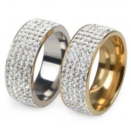 """Prsteny pro páry, svatební prstýnky """"5 Row"""", nerez ocel"""