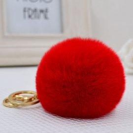 Přívěšek na klíče / Kožešinová koule - imitace králíčí kožežiny, 8cm klíčenka