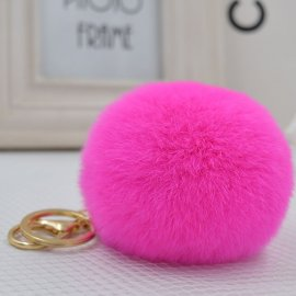 Key fob Fur ball 8cm big imitation rabbit fur, keychain
