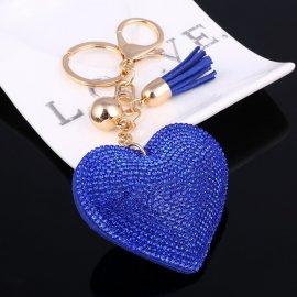 Prívesok na kľúče / Srdiečko s kryštálmi, 6.5cm kľúčenka