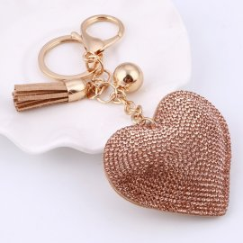 Přívěšek na klíče / Srdíčko s krystaly , 6.5cm klíčenka