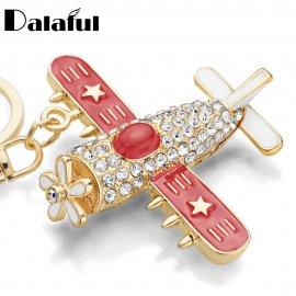 Keyring / Aircraft with crystals, keyring
