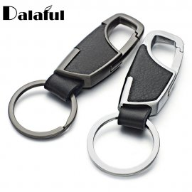 Keyring 9cm, key ring with carabiner, PU leather
