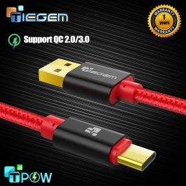 TIEGEM 3.1 USB-C Cable 1M / 2M / 3M / 30CM braided, 24K gold plated, quick-charge QC2.0 QC3.0, data, universal