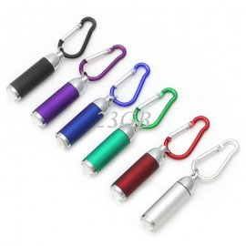 Flashlight with carabiner, keyring, LED, waterproof
