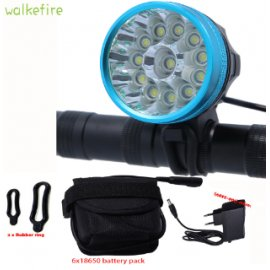 Světlo na kolo Walkfire 20000Lm, 12 x XML T6 LED, vodotěsné, baterie 18650, nabíječka