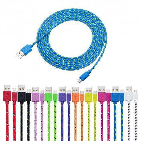 Kabel Micro USB 1M/2M/3M, pletený, nabíjecí/data, univerzální