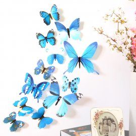 Beautiful decoration - Set of 12pcs 3D stick butterflies, wall etc.