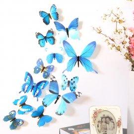 Nádherná dekorace - Sada 12ks 3D nalepovacích Motýlů, na zeď atd /Poštovné ZDARMA!