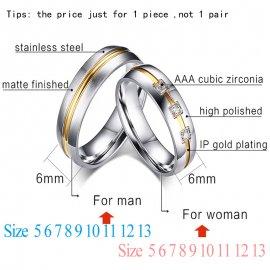 """Prsteny pro páry, svatební prstýnky """"Vnox CZ Stone 316l"""", nerez ocel"""