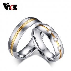 "Wedding rings ""Vnox CZ Stone 316l"", stainless steel"