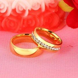 """Prsteny pro páry, svatební prstýnky """"Vnox Gold"""", nerez ocel"""