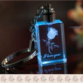 Přívěšek na klíče Růže, svítící LED, klíčenka