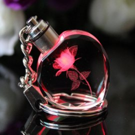 Keyring Rose, shining LED, keychain