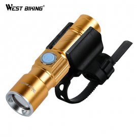 Bike light with WEST BIKING Zoom CREE Q5 Ultra bright LED 200m, USB charging
